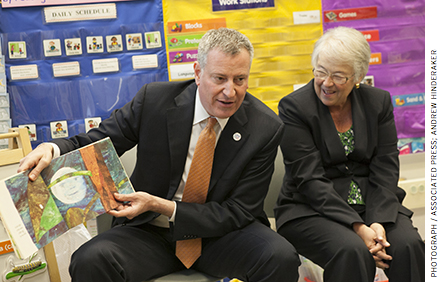 "De Blasio and his schools chancellor Carmen Farina (right) have weakened accountability frameworks as part of a plan to ""lower the stakes on testing."""