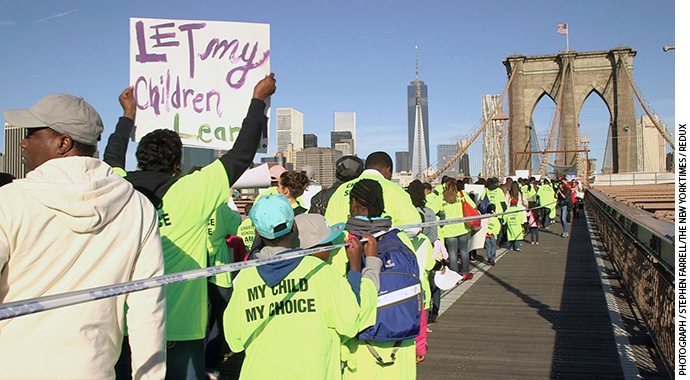 Bill de Blasio made a campaign pledge to start charging rent to charter schools, but in October 2013, weeks before the mayoral elec- tion that fall, thousands of children and adults marched across the Brooklyn Bridge in protest.