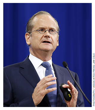 Harvard law professor Lawrence Lessig helped found Creative Commons, an organization that devised a form of copy- right protection that allows for the sharing and free replication of works.
