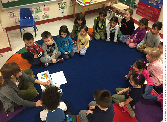 """A pre-K class at Renaissance Charter School sings """"We Are the World"""" as a calming and bonding activity."""
