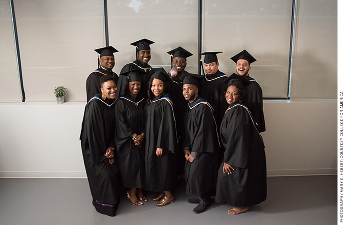 Match Beyond/College for America program graduates, including Tena Fenton (front row, second from left), May 2016