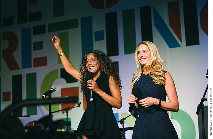 Russlynn Ali (left) and Laurene Powell Jobs recognize the inaugural class of Super Schools, September 2016