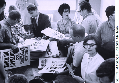 Starting in 1959, states began passing union-friendly legislation that led to a sharp rise in the prevalence of OR collectively bargained contracts.