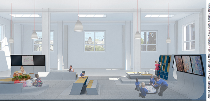 Artist rendering of a flexible education environment for a future AltSchool