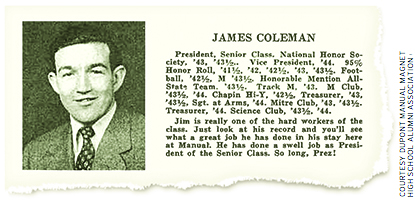 James Coleman graduated from duPont Manual High School in 1944.