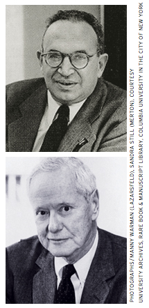 "At Columbia, Paul Lazarsfeld (top) and Robert Merton ""spotted Jim as a sociological talent within months after he came to the department."""