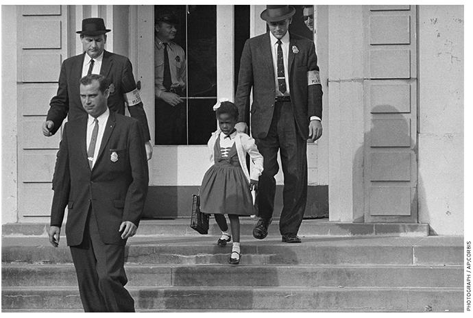 In 1960, U.S. Deputy Marshals escorted from school six-year-old Ruby Bridges, the only black child enrolled at the time in William Frantz Elementary in New Orleans.
