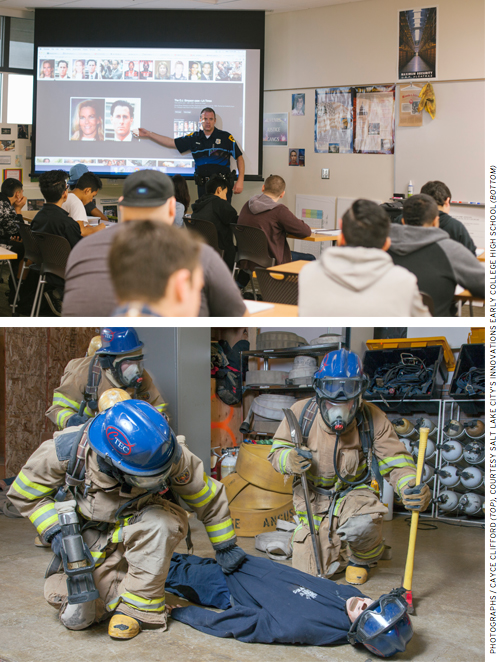 At the Career andTechnical Center, law enforcement classes are taught by police officers and fire science is taught by firefighters. Emergency medicine classes taught by EMTs can lead to employment-ready certification when students turn 18.