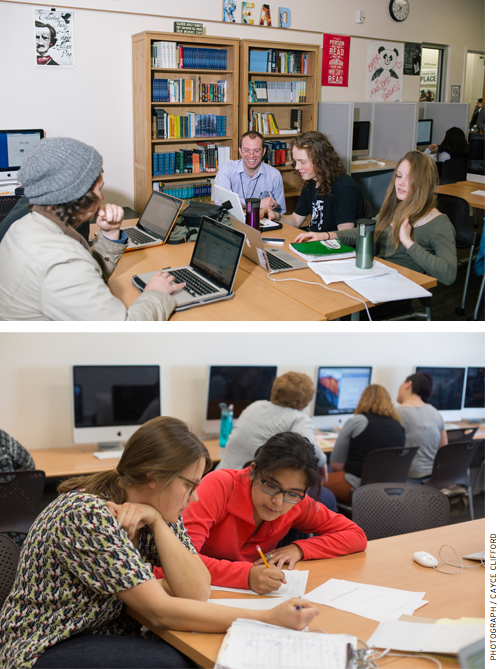 Throughout the day, small groups of students form to collaborate on projects or labs. Meanwhile, tutors and teachers walk around looking for students who need help, or meet by appointment to work with individuals or small groups.