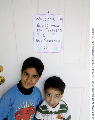 Sacramento school district students welcome their teachers for a home visit. K–12 teachers in Sacramento conduct over 2,000 relationship-building home visits every year.