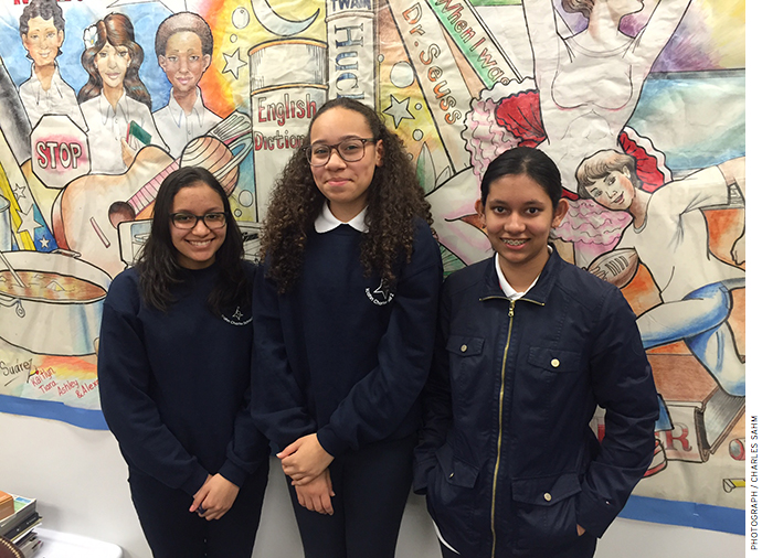Graduating 8th graders from Icahn 2, Kaitlyn Romanger, Aaliyah Vega, and Shaira Ahmed (from left to right)