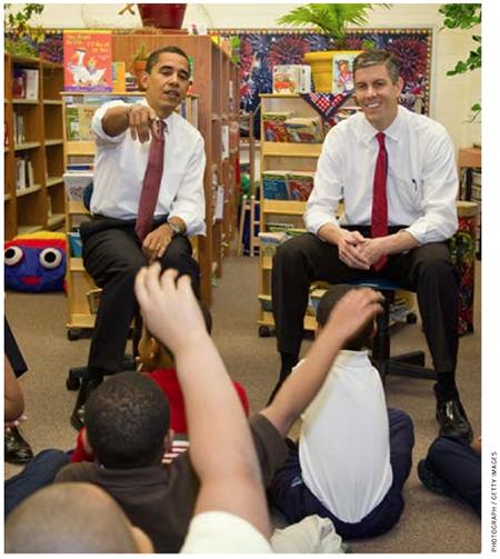 President Barack Obama and Education Secretary Arne Duncan visit a school in Chicago in December 2008, just after Duncan's nomination