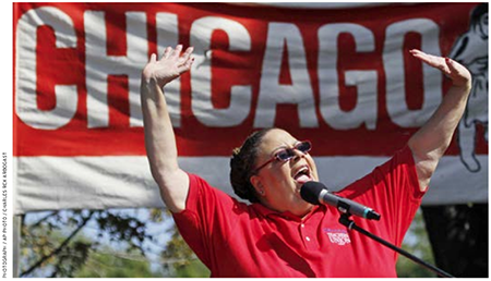 Karen Lewis, president of the Chicago Teachers Union, addresses a crowd during a rally in September 2012