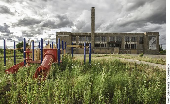 Abandoned Jane Cooper Elementary School in Detroit Michigan.