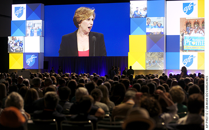 Randi Weingarten, president of the American Federation of Teachers, addresses the crowd at the union's annual convention, July 2014