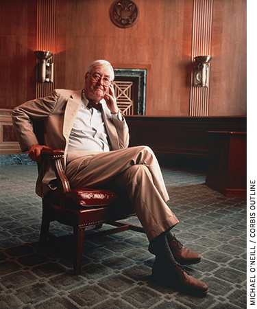 Daniel Patrick Moynihan, pictured here in a Senate office building in 1994, served as U.S. senator from New York between 1977 and 2001.