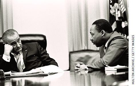 President Lyndon B. Johnson meets with civil rights leader Martin Luther King, Jr., in 1965