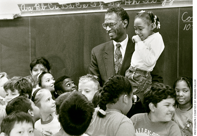 Howard Fuller with a group of Milwaukee Public Schools students in the early 1990s