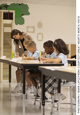 At Great Hearts Monte Vista, also in San Antonio, students wear uniforms, file quietly through the halls, and study the Great Books.