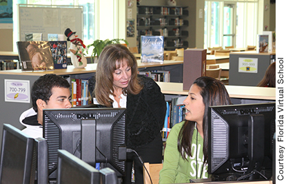 Julie Young with Florida Virtual School students