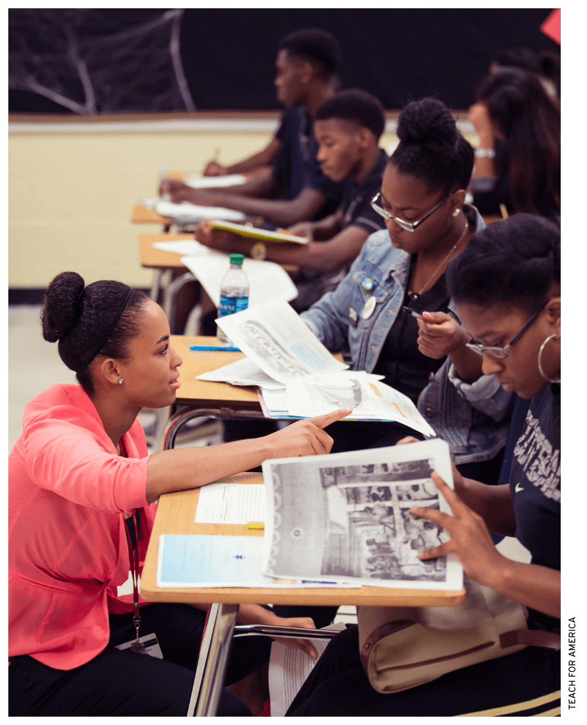 At Creekside High School in Atlanta, Teach for America corps member Jasmine Fountain teaches 9th grade geography and black history.