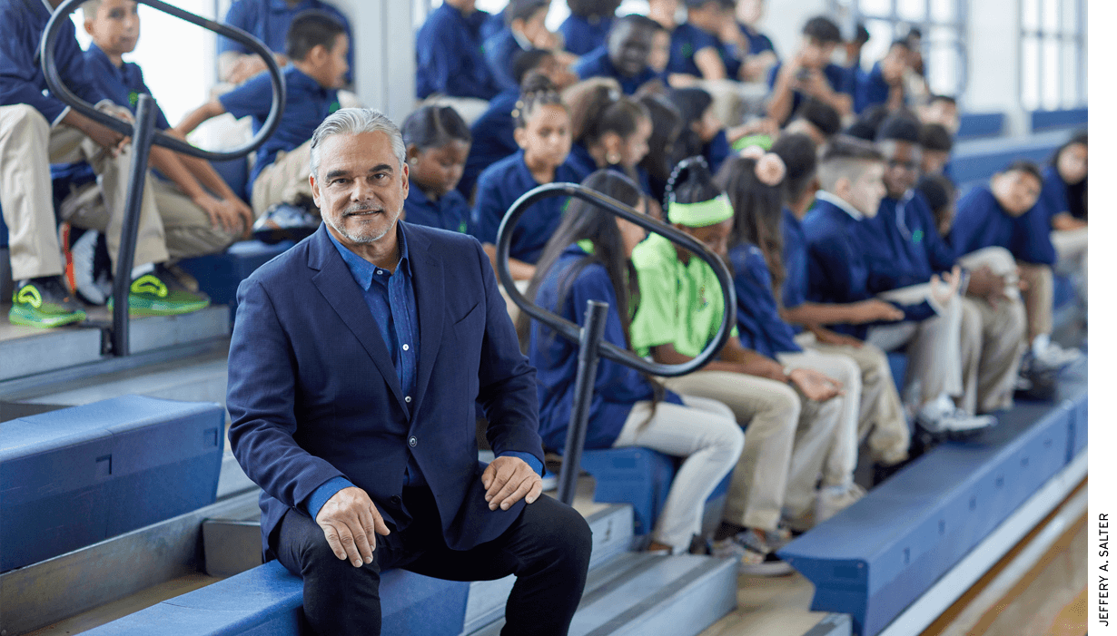 "Fernando Zulueta, president of Academica schools, at Slam Miami School in August 2019. ""We wake up scared every day that if we don't do a great job, parents will turn around and leave."""