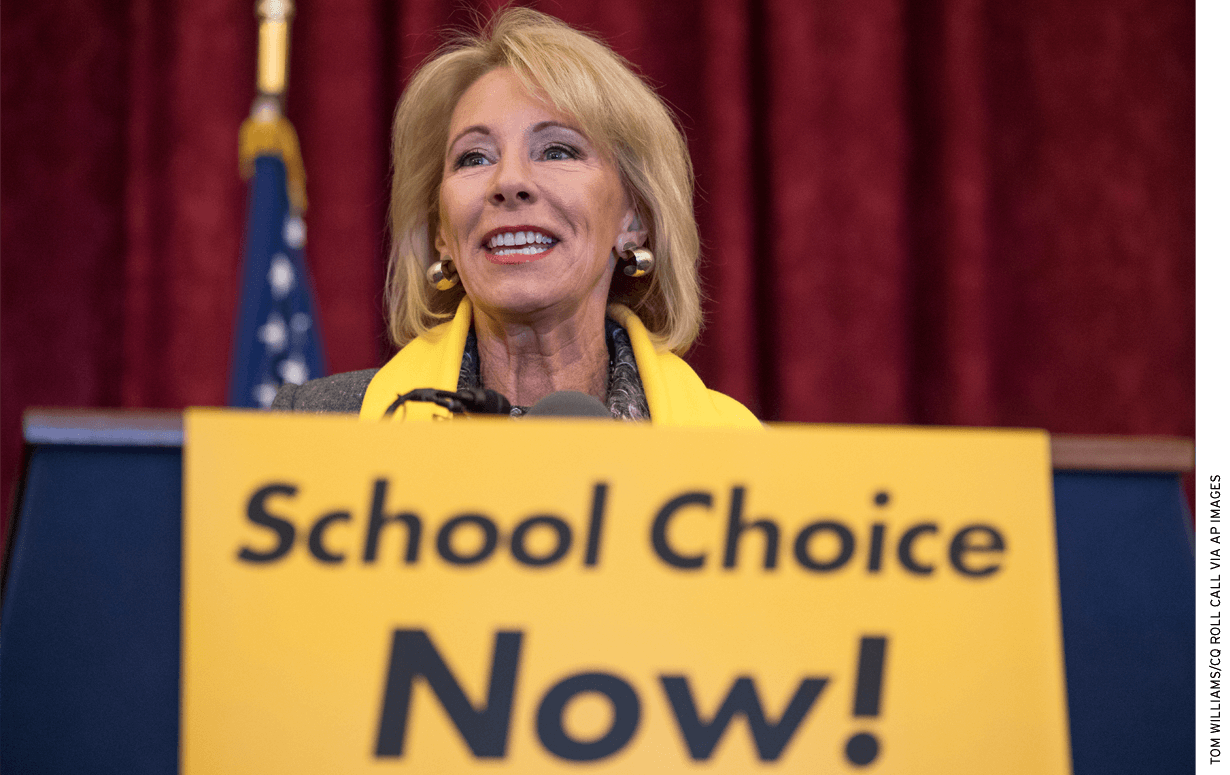 "Education Secretary Betsy DeVos during ""National School Choice Week."" She has proposed federal tax credits for tuition scholarships."