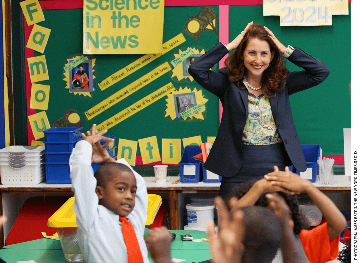 Success Academy Founder and CEO Eva Moskowitz in a classroom.