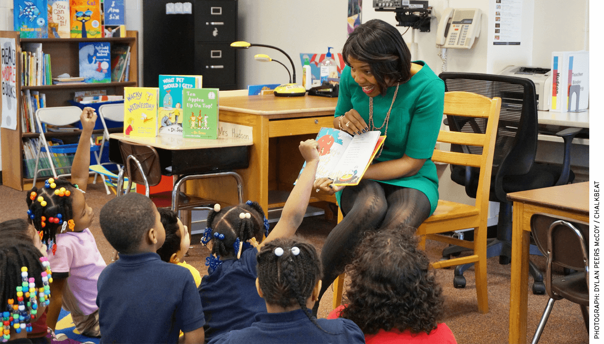 The superintendent of Indianapolis Public Schools, Aleesia Johnson, reads One Fish, Two Fish, Red Fish, Blue Fish to a kindergarten class at Louis B. Russell Jr. School 48. Johnson was a KIPP charter school principal before being asked to take over the district.