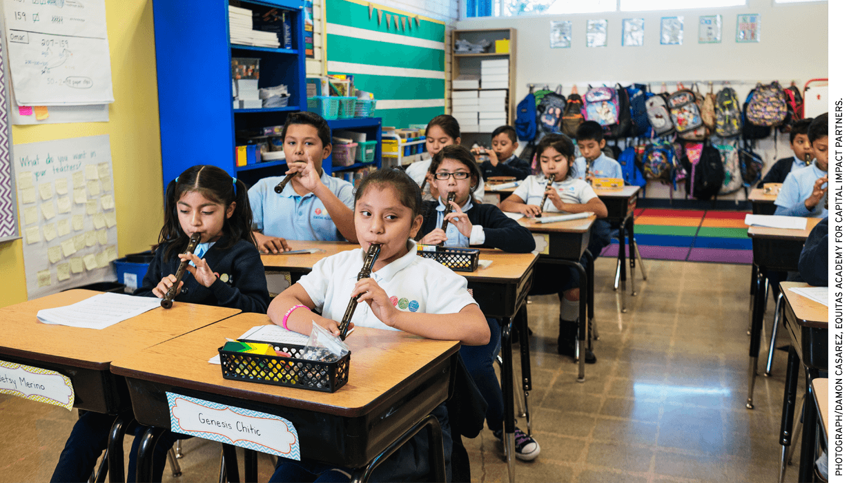 Students practice at an Equitas Academy Charter School in L.A.