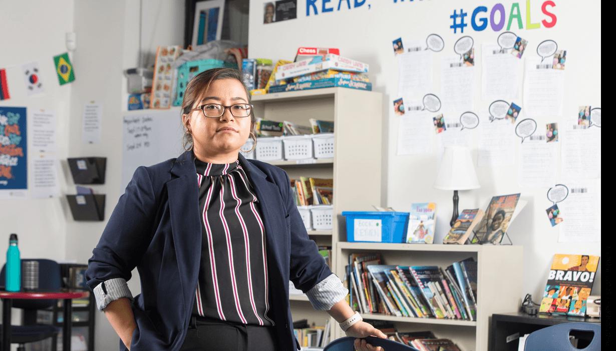 Lucero Castillo, a 6th-grade English language specialist at Excel Academy East Boston