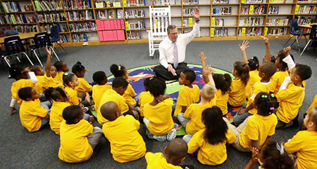 Governor Bush with students at Tangelo Park Elementary School in Tangelo Park, Florida Photo: Courtesy Foundation for Excellence in Education