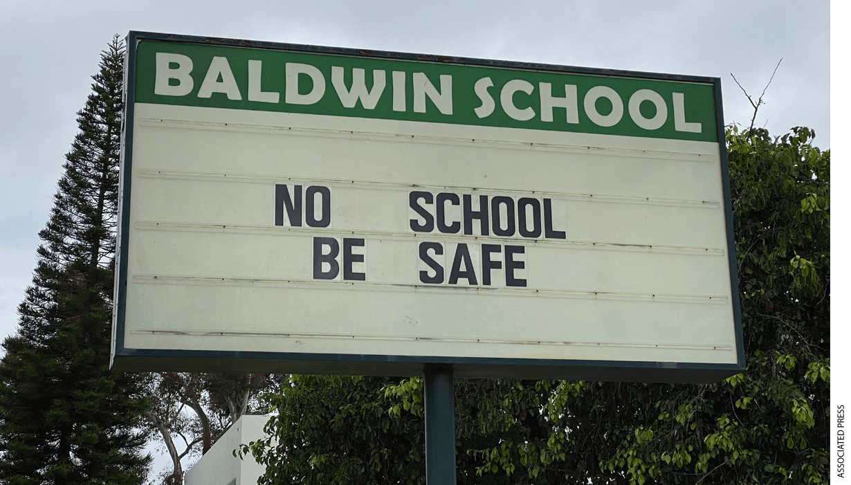 No School sign at Martha Baldwin Elementary School amid the global coronavirus COVID-19 pandemic, Sunday, April 5, 2020, in Alhambra, Calif.