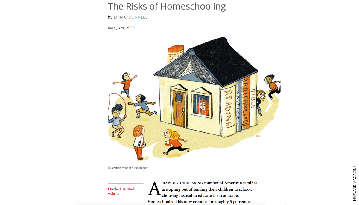 "Screenshot of ""The Risks of Homeschooling"" in Harvard Magazine."