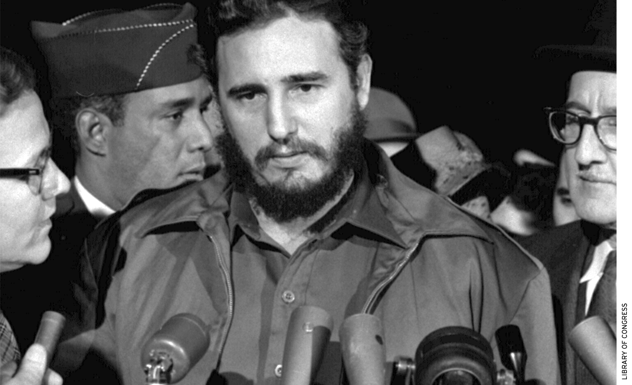 Fidel Castro arrives at MATS Terminal, Washington, D.C., in 1959.