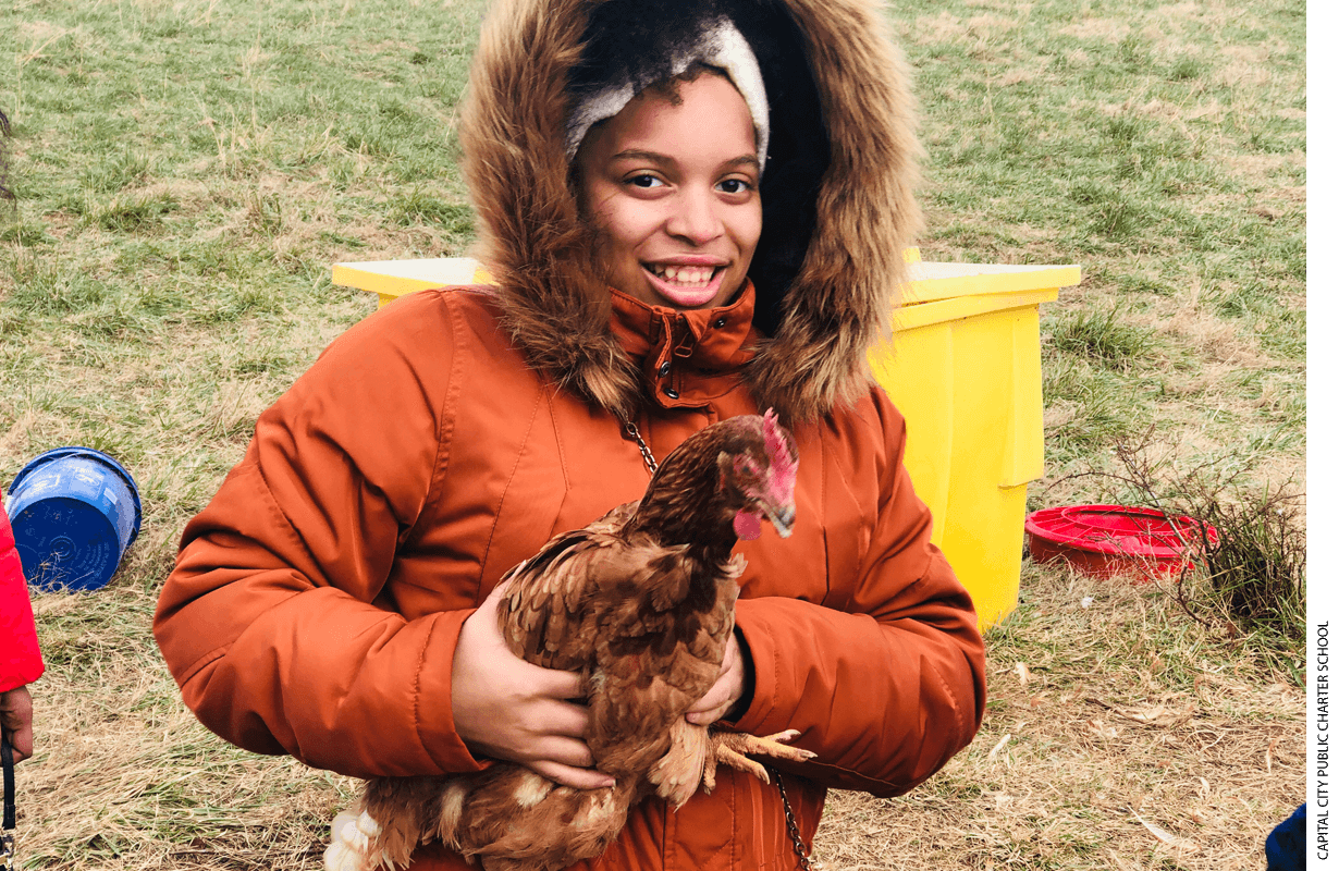 Kendal Pully, an 11th grader, at Rocklands Farm in Montgomery County, Maryland, in November 2019.