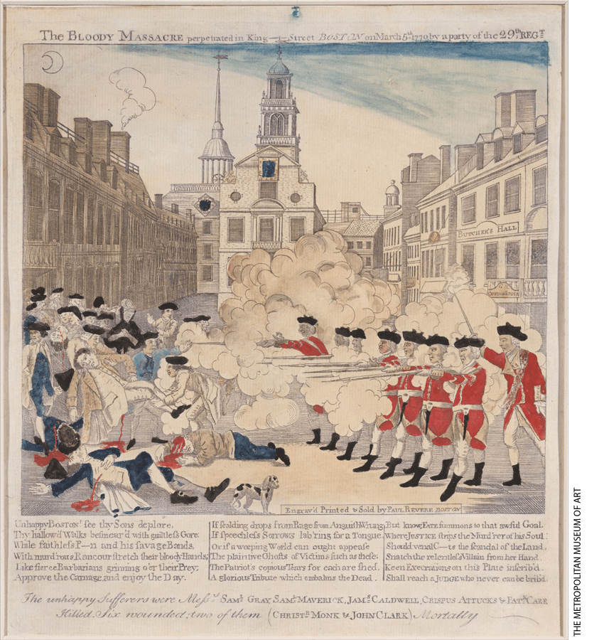"An early image of The Boston Massacre includes Crispus Attucks among the ""unhappy sufferers""."